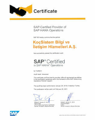 KoçSistem Cert Hana Local 2019