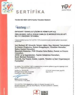 Entegart Kalite Yönetim Sistemi Sertifikaları