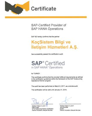 SAP-Certified Provider of SAP HANA Operations